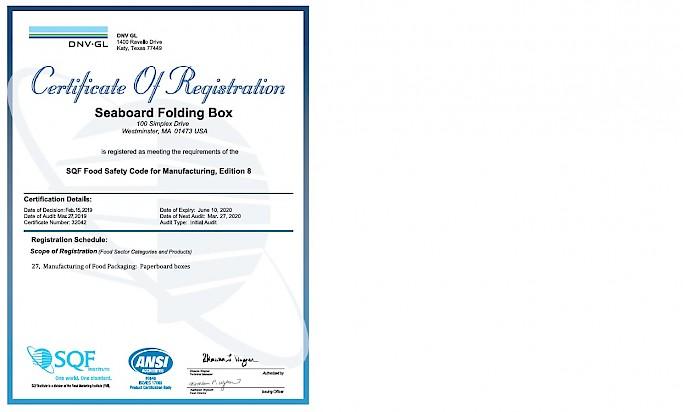 Seaboard Awarded SQF Direct Food Certification!